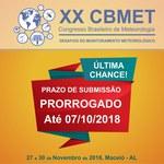 Prazo para submissão de trabalhos no XX CBMET 2018 é prorrogado até 07/10